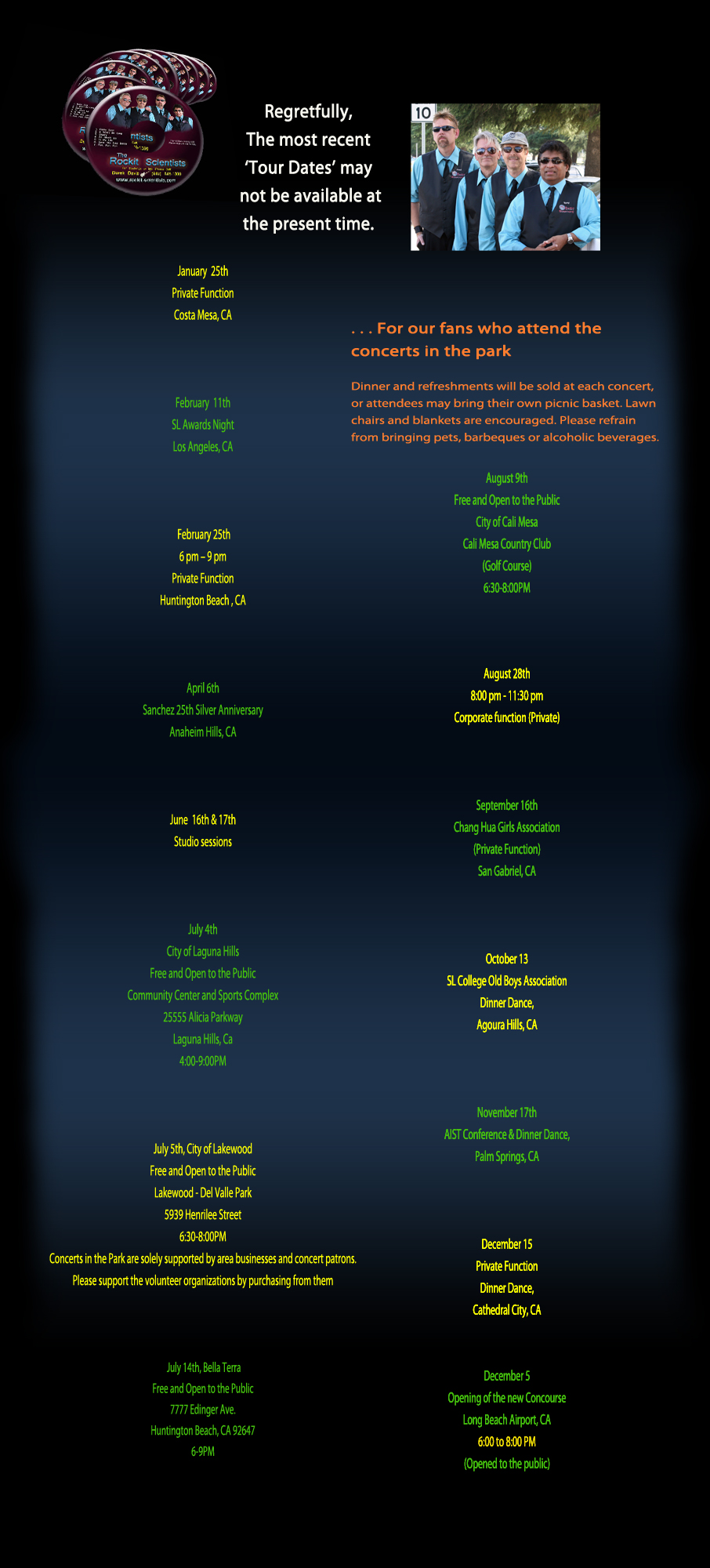 Tour Dates - 2014 - Modified